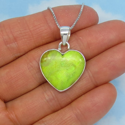 Natural Australian Gaspeite Heart Pendant Necklace - Sterling Silver - Genuine - p151598