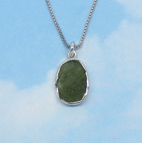 Dainty Genuine Czech Moldavite Pendant Necklace Sterling Silver Small Rough Raw Meteorite Natural Tektite - Sun Moon Star - p150952
