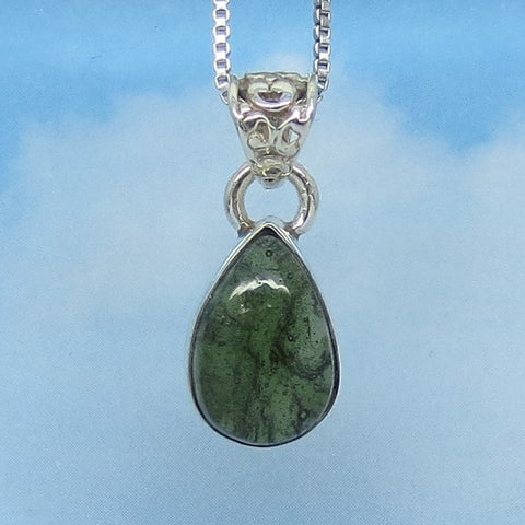 Dainty Genuine Czech Moldavite Pendant Necklace Sterling Silver - Small Pear Shape Cabochon - Meteorite - Natural Tektite - p171503