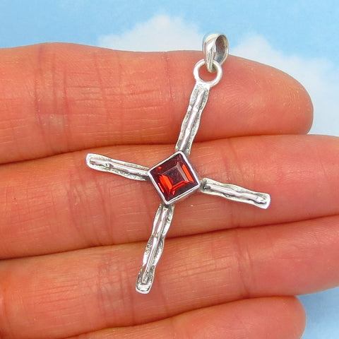 "1-3/4"" 1.29ct Natural Garnet Zia Cross Pendant Necklace - 925 Sterling Silver - Sun Symbol - Natural Genuine - jy241353"