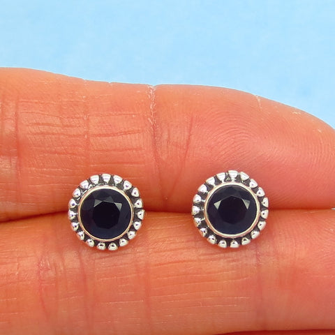 2.1ctw Natural Sapphire Stud Earrings - Heated Genuine Sapphire 6mm Round - Post Earrings - Very Dark Blue - Boho - jy171206