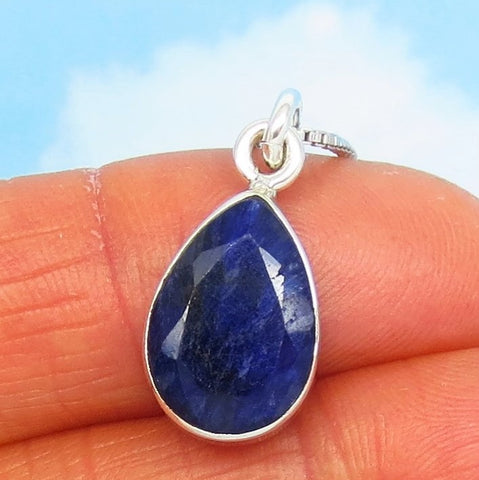 5.06ct Natural Sapphire Pendant Necklace - Sterling Silver - 14 x 10mm Pear Shape - Teardrop - Raw - Genuine - su180656