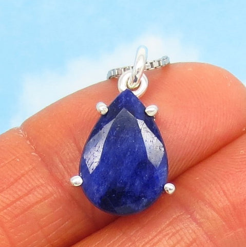 5.03ct Natural Sapphire Pendant Necklace - Sterling Silver - 14 x 10mm Pear Shape - Teardrop - Raw - Genuine - su180653