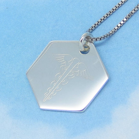 Sterling Silver Caduceus Dog Tag Pendant Necklace - Nurse - Medical Sign - Doctor - Angel Wings - Caduceus Pendant - Hexagon - c180770