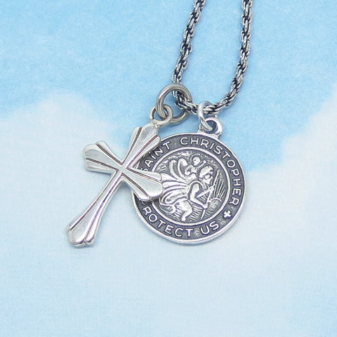 925 Sterling Silver St. Christopher Medal & Cross Pendant Necklace - 925 Rope Chain - Saint of Safe Travel - Minimalist Men's - nk242139
