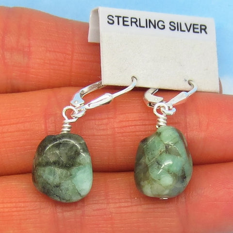 20.6ctw Natural Brazilian Emerald Earrings Sterling Silver Leverback Dangles - Tumbled Rough - Raw Untreated Genuine Emerald - su170808