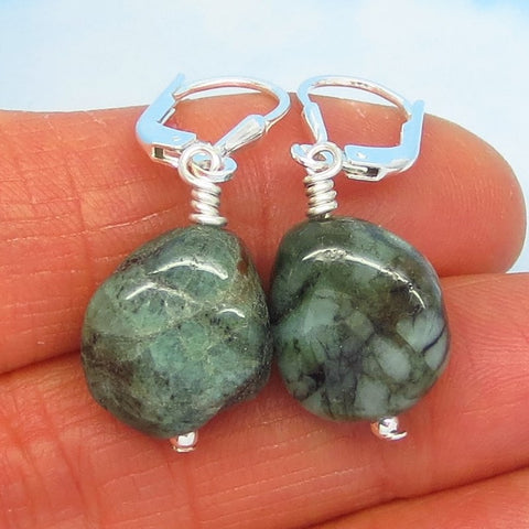 24.0ctw Natural Brazilian Emerald Earrings Sterling Silver Leverback Dangles - Tumbled Rough - Raw Untreated Genuine Emerald - su170809