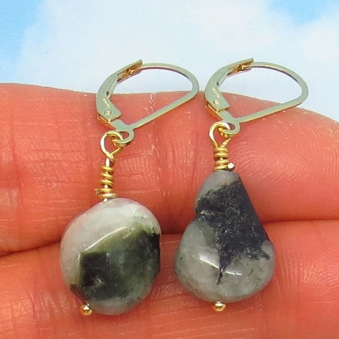 19.8ctw Natural Brazilian Emerald Earrings 14/20 Gold Filled Leverback Dangles - Tumbled Rough - Raw Untreated Genuine Emerald - su171101