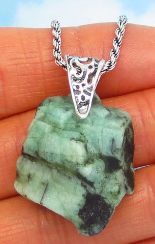 50.0ct Natural Emerald Pendant Necklace - Sterling Silver - Genuine Raw Brazilian Emerald - Rough Nugget - Filigree Boho - nk182302su