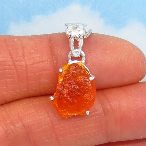 2.39ct Raw Mexican Fire Opal Pendant Necklace - 925 Sterling Silver - Filigree Bail - Natural Genuine Rough - Minimalist - 241308 mx8