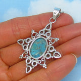 Large Natural Mojave Blue Turquoise & Blue Topaz Pendant Necklace - Sterling Silver - Filigree - Genuine - Star Sun - Statement - p161753