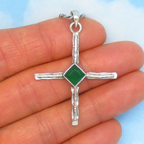 "1-3/4"" 0.803ct Natural Emerald Zia Cross Pendant Necklace - 925 Sterling Silver - Petroglyph Taos Sun Symbol - Genuine Emerald Heated - jy241308em"