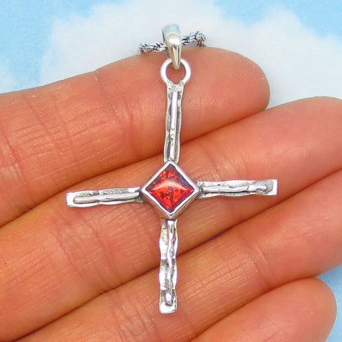 "1-3/4"" Red Orange Lab Fire Opal Zia Cross Pendant Necklace - 925 Sterling Silver - Taos Petroglyph Sun Symbol - Created Opal - jy241307r"