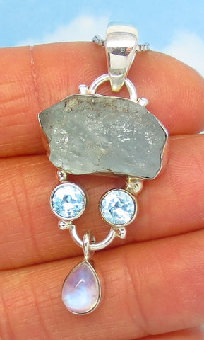 Natural Raw Aquamarine Pendant Necklace - Sterling Silver - Untreated Rough Aquamarine - Rainbow Moonstone - Genuine - j261008
