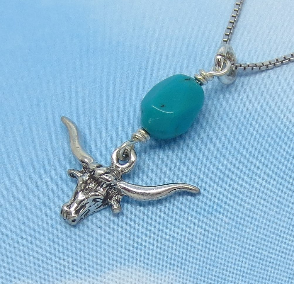 Dainty Natural Nevada Turquoise Nugget & Longhorn Pendant Necklace - Sterling Silver - Texas Cowboy Steer - Small - Montezuma Mine - s170638