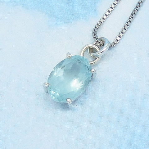 12 x 9mm - 4.5ct - Natural Aquamarine Pendant Necklace - Sterling Silver - Unheated Genuine Raw Milky Aquamarine - Large Oval - AQ182433o