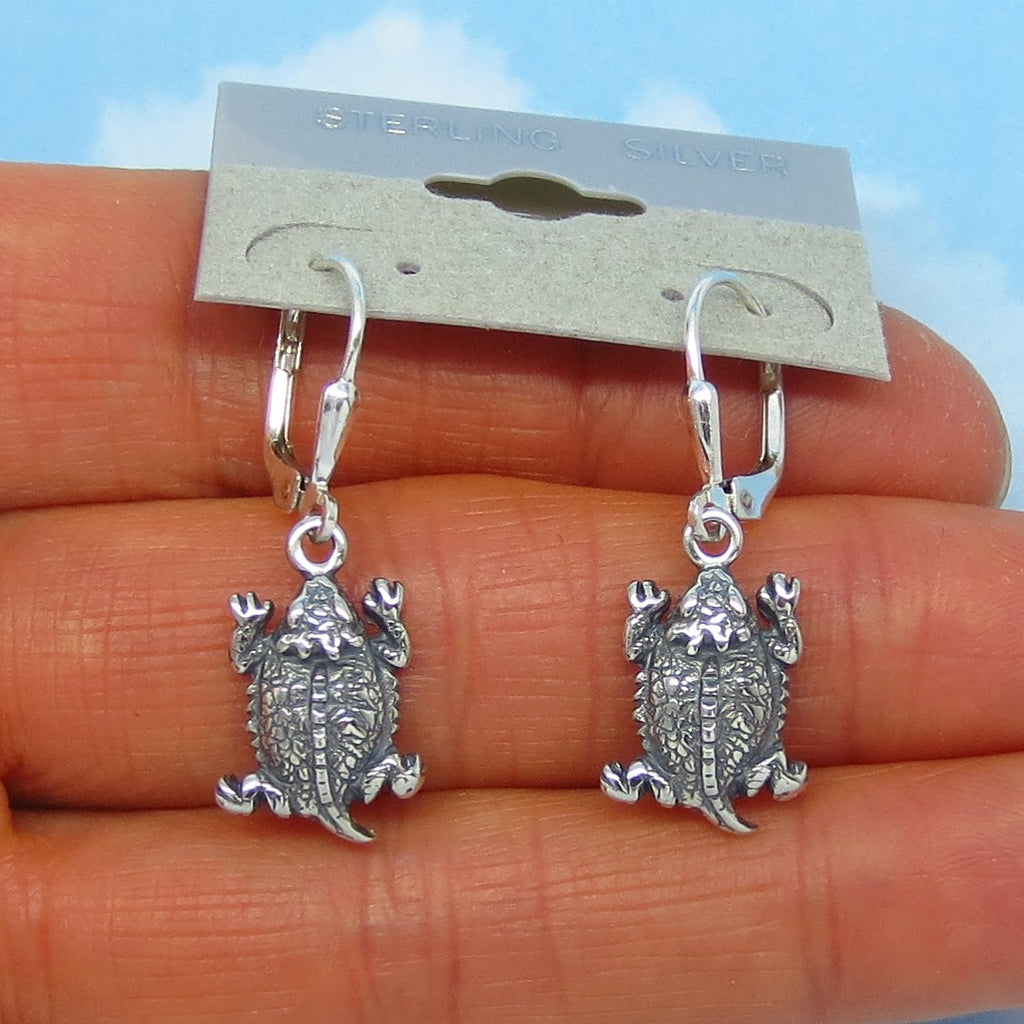 Sterling Silver Horned Toad Earrings - Leverback Ear Wires - Dangle - 3-D - Horny Toads - Desert - Southwest - Horned Lizard - 191011