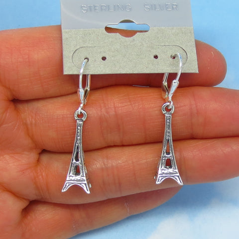 Sterling Silver Eiffel Tower Earrings - Leverback Ear Wires - Dangle - 3-D - France - Travel - Europe - 170789