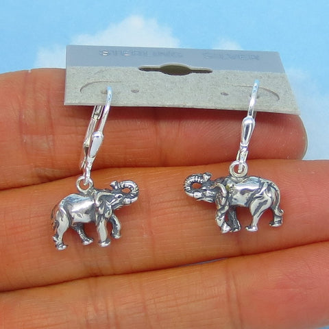 Sterling Silver Elephant Earrings - Leverback Ear Wires - Dangle - Small - 3-D - Wild Animals - Africa - Trunk Up - Good Luck - su171253