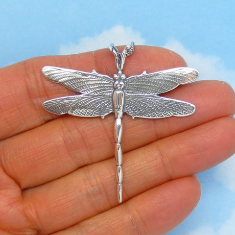 "925 Sterling Silver 1-13/16"" Dragonfly Pendant Necklace - Large - Gardener Woodland Firefly - p241129"