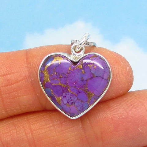 Small Mojave Purple Copper Turquoise Heart Pendant Necklace - Sterling Silver - Small - Genuine Natural Arizona Turquoise - su140903