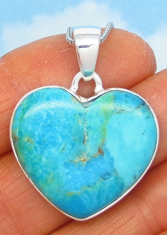 23 x 26mm Mojave Blue Turquoise Heart Pendant Necklace - Sterling Silver - Genuine Natural Arizona Turquoise - US - USA - a162406