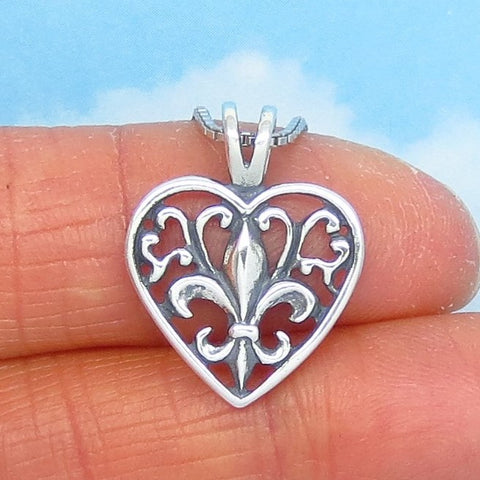 Small 925 Sterling Silver Fleur de Lis Heart Pendant Necklace - Filigree - Saints New Orleans - h240459