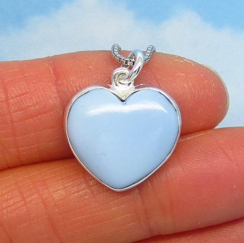Small Owyhee Opal Heart Pendant Necklace - 925 Sterling Silver - Natural Genuine Soft Pale Blue Idaho Oregon Opal - Minimalist - 270906