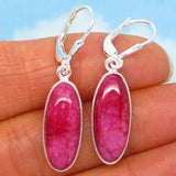 16.6ctw Natural Ruby Earrings - Sterling Silver - Leverback - Long Oval Dangles - Genuine Raw India Ruby - su191601