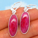 14.6ctw Natural Ruby Earrings - Sterling Silver - Leverback - Long Oval Dangles - Genuine Raw India Ruby - su191603