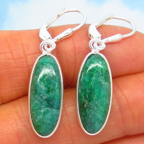 14.0ctw Natural Emerald Earrings - Sterling Silver - Leverback - Long Oval Dangles - Genuine Raw India Emerald - su191602