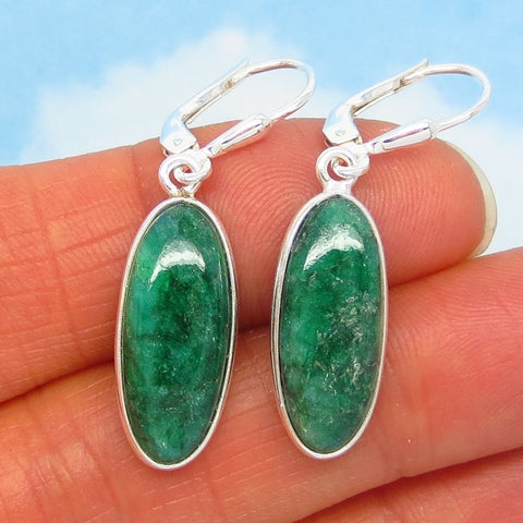 15.0ctw Natural Emerald Earrings - Sterling Silver - Leverback - Long Oval Dangles - Genuine Raw India Emerald - su191606