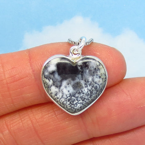 Small Merlinite Dendrite Opal Heart Necklace - Sterling Silver - Dendrite Agate - Dendritic Opal - Dendritic Agate - Genuine Natural 281156