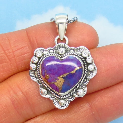 Natural Arizona Purple Turquoise Heart Pendant Necklace - 925 Sterling Silver - Genuine Mojave Copper Turquoise - Ruffled Western 272502p