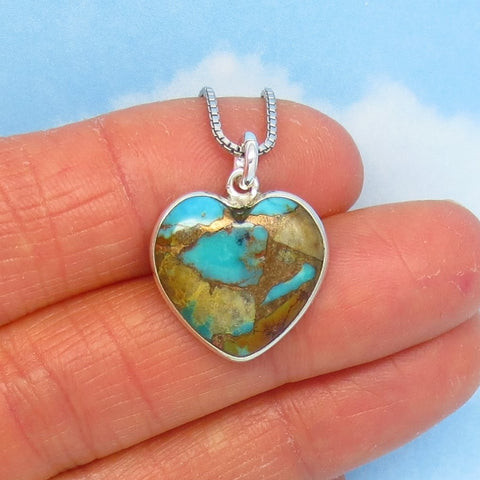 Tiny Genuine Nevada Turquoise Heart Pendant Necklace 925 Sterling Silver - Small Dainty - Natural - Pilot Mountain - Montezuma Mine su170986