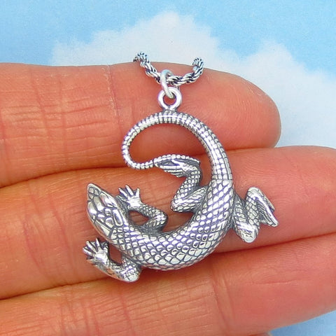 925 Sterling Silver Southwest Lizard Pendant Necklace - Rope Chain - Reptile Desert Animals - 9.7g Necklace - 240997