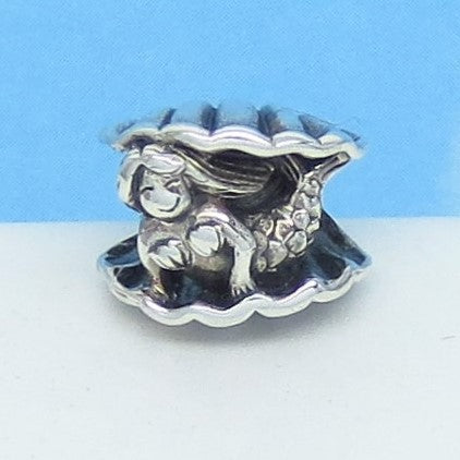 Sea Shell Mermaid European Charm Bead 925 Sterling Silver For Pandora Style Bracelets - Threaded - Ships from USA - 280809