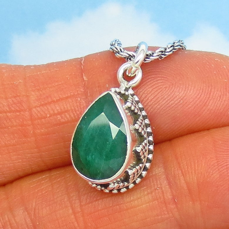 1.91ct Natural Emerald Pendant Necklace - Sterling Silver - Artisan - Pear - Teardrop - Genuine Raw India Emerald - em190853