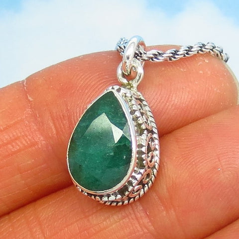 1.91ct Natural Emerald Pendant Necklace - Sterling Silver - Artisan - Pear - Teardrop - Genuine Raw India Emerald - em190856