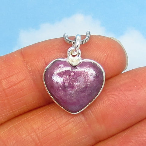 Natural Ruby Heart Pendant Necklace - Sterling Silver - Cabochon - Genuine - Raw - Dark Lavender Pink - rh191952