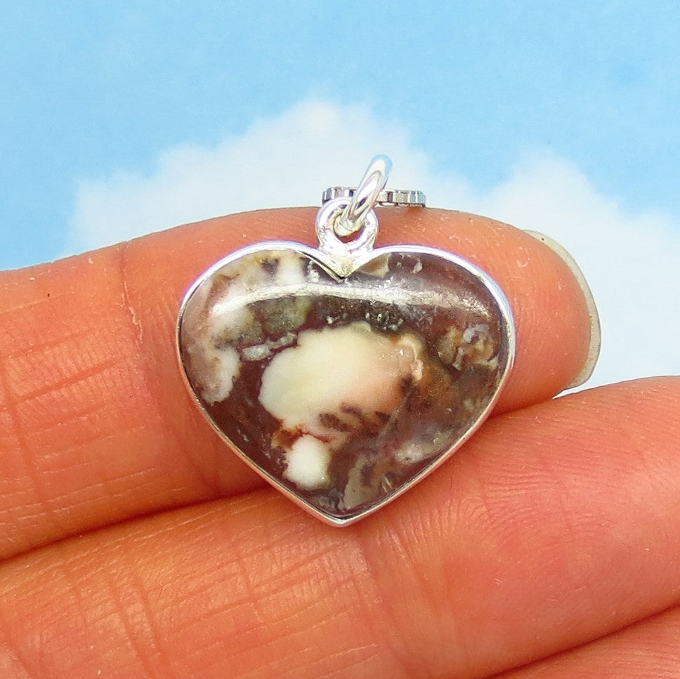 Small Wild Horse White Turquoise Heart Pendant Necklace - Sterling Silver - Appaloosa Stone - White Buffalo - White Magnesite - wh180801