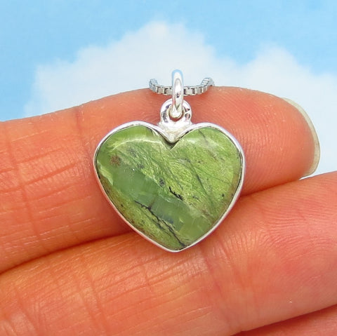 Small Natural Green Opal Heart Pendant Necklace - Sterling Silver - Genuine Opal - Minimalist - Sage Green - su190801