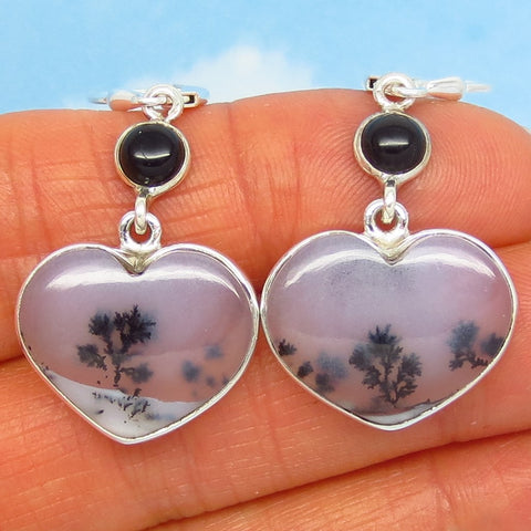 Merlinite Dendrite Opal Heart Earrings - Sterling Silver - Leverback - Dendrite Agate - Black Onyx Accent - Dendritic - su191601