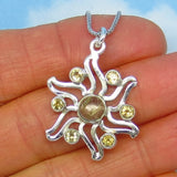 Golden Rutile Rutilated Quartz Sun Pendant Necklace - Sterling Silver - Citrine Accents - Natural Genuine - Celestial Solstice - p261108