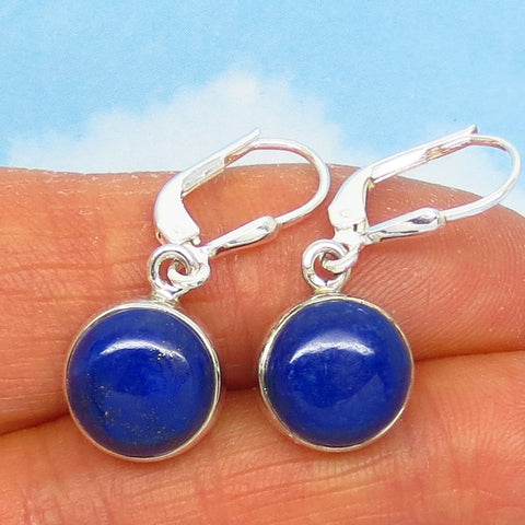 10mm Round Natural Lapis Lazuli Earrings - Leverback - Dangle - Sterling Silver - Simple - Genuine - SU171406