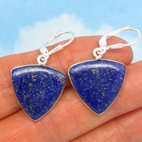 Natural Lapis Lazuli Earrings - Leverback - Sterling Silver - Trillion Triangle Geometric Arrowhead - Large ish - Dangle - SU171616