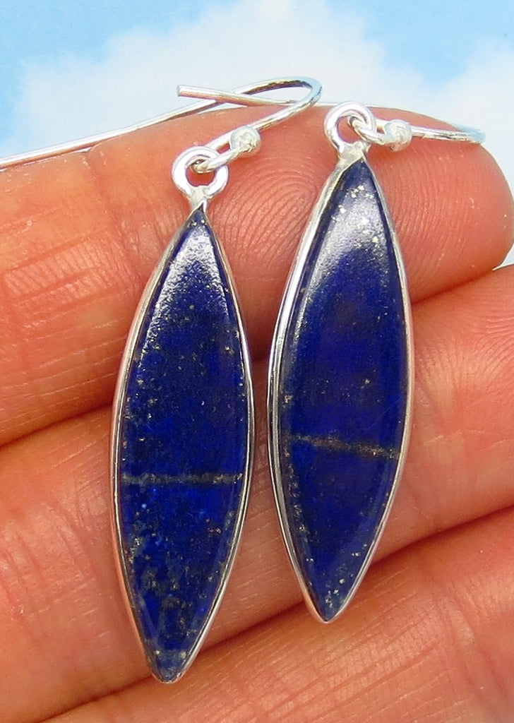 Natural Lapis Lazuli Earrings - Wires or Leverback - Sterling Silver - Long Marquise - Dangle - Simple - 30 x 9mm - Large ish - su161456
