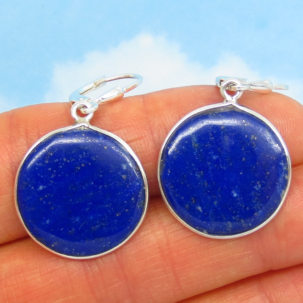 Natural Lapis Lazuli Earrings - Leverback Dangle - Sterling Silver - 20mm Round - Flat - Simple Thin Disc - Genuine - Large ish - SU161703RL