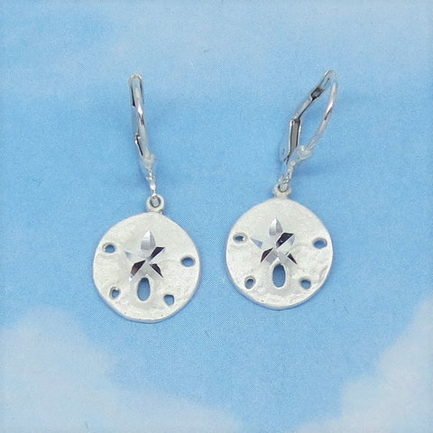 Small Sand Dollar Earrings - Sterling Silver - Leverback - Dangles - Sea Shell - Beach - Ocean - Sea Life - 180709