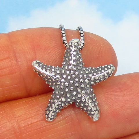 Small Starfish Necklace - Sterling Silver - Choice of Length - Tidepool Beach Ocean Sea Life - Sea Star - P190578